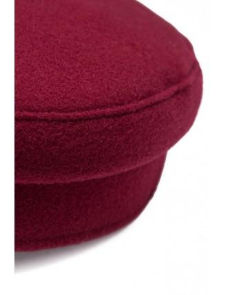 Bordová námornícka čiapka s koženkovým šiltom 4