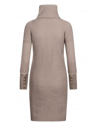 Hnedé svetrové šaty s rolákom a gombíkmi 3