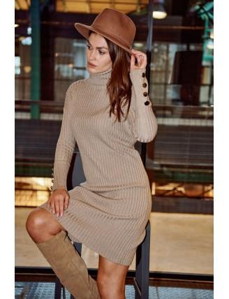 Hnedé  svetrové šaty s rolákom a gombíkmi 1