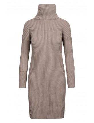 Hnedé svetrové šaty s rolákom a gombíkmi 4