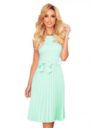 Mentolové plisované šaty s krátkym rukávom a mašľou