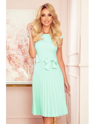 Mentolové plisované šaty s krátkym rukávom a mašľou 3
