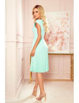 Mentolové plisované šaty s krátkym rukávom a mašľou 1