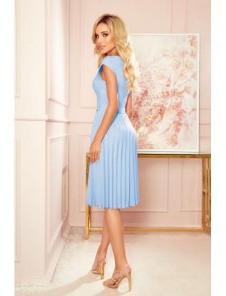 Svetlomodré plisované šaty s krátkym rukávom a mašľou 2