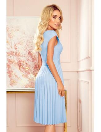 Svetlomodré plisované šaty s krátkym rukávom a mašľou 1