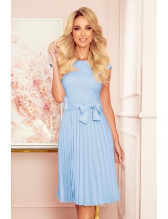 Svetlomodré plisované šaty s krátkym rukávom a mašľou 3