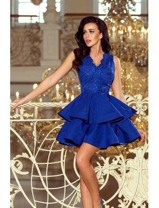 Modré spoločenské šaty s nadýchanou sukňou a čipkou-1