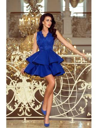Modré spoločenské šaty s nadýchanou sukňou a čipkou-3