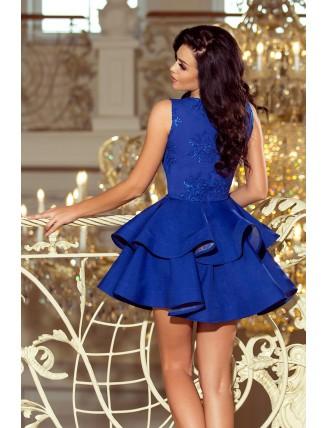 Modré spoločenské šaty s nadýchanou sukňou a čipkou-4