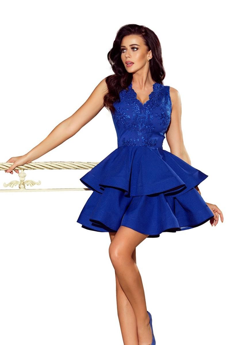 Modré spoločenské šaty s nadýchanou sukňou a čipkou