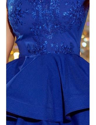 Modré spoločenské šaty s nadýchanou sukňou a čipkou-5