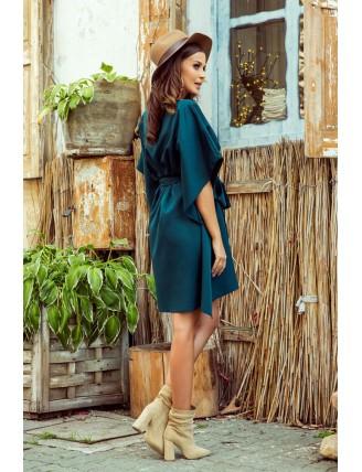 Krátke smaragdové šaty s viazaním v páse-2