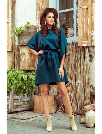 Krátke smaragdové šaty s viazaním v páse-7