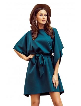 Krátke smaragdové šaty s viazaním v páse