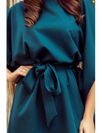 Krátke smaragdové šaty s viazaním v páse-6