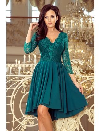 Zelené asymetrické šaty s čipkou a trojštvrťovým rukávom-1