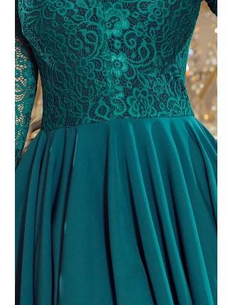 Zelené asymetrické šaty s čipkou a trojštvrťovým rukávom-5
