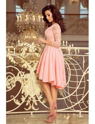 Púdrovo ružové asymetrické šaty s čipkou-2