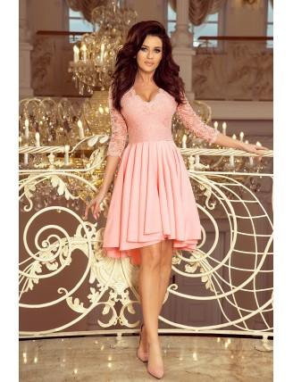 Púdrovo ružové asymetrické šaty s čipkou-3