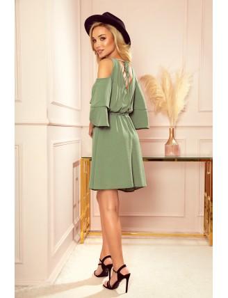 Ľahké olivové šaty s výstrihom a viazaním v páse - zo zadu