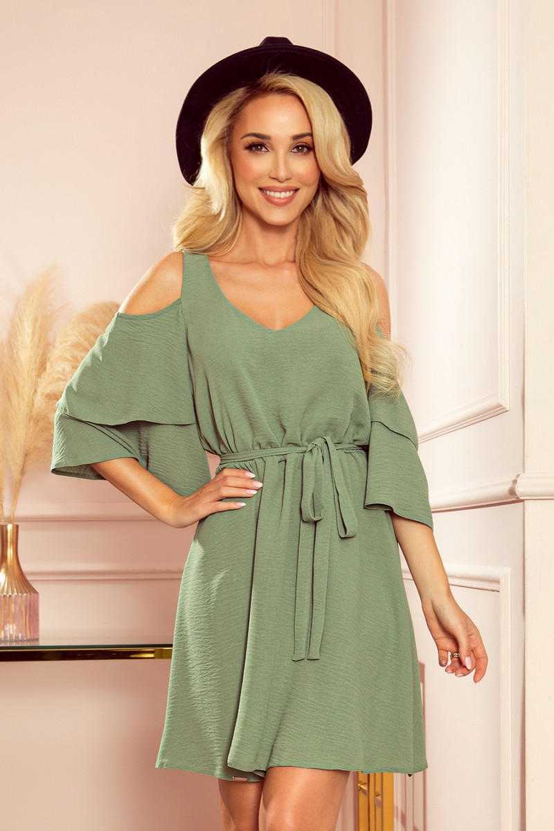 Ľahké olivové šaty s výstrihom a viazaním v páse