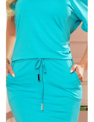 Športové šaty s krátkymi rukávmi mentolovej farby - detail