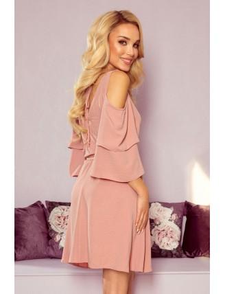 Ľahké púdrovo ružové šaty s výstrihom a viazaním v páse - z boku
