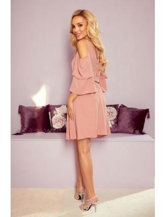Ľahké púdrovo ružové šaty s výstrihom a viazaním v páse - zo zadu