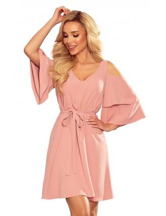 Ľahké púdrovo ružové šaty s výstrihom a viazaním v páse - z predu - dva