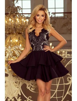 Čierne spoločenské mini šaty s krajkou a nadýchanou sukňou-1