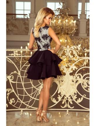 Čierne spoločenské mini šaty s krajkou a nadýchanou sukňou-2
