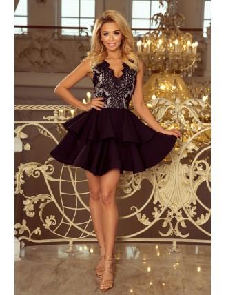 Čierne spoločenské mini šaty s krajkou a nadýchanou sukňou-3