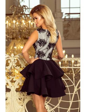 Čierne spoločenské mini šaty s krajkou a nadýchanou sukňou-4