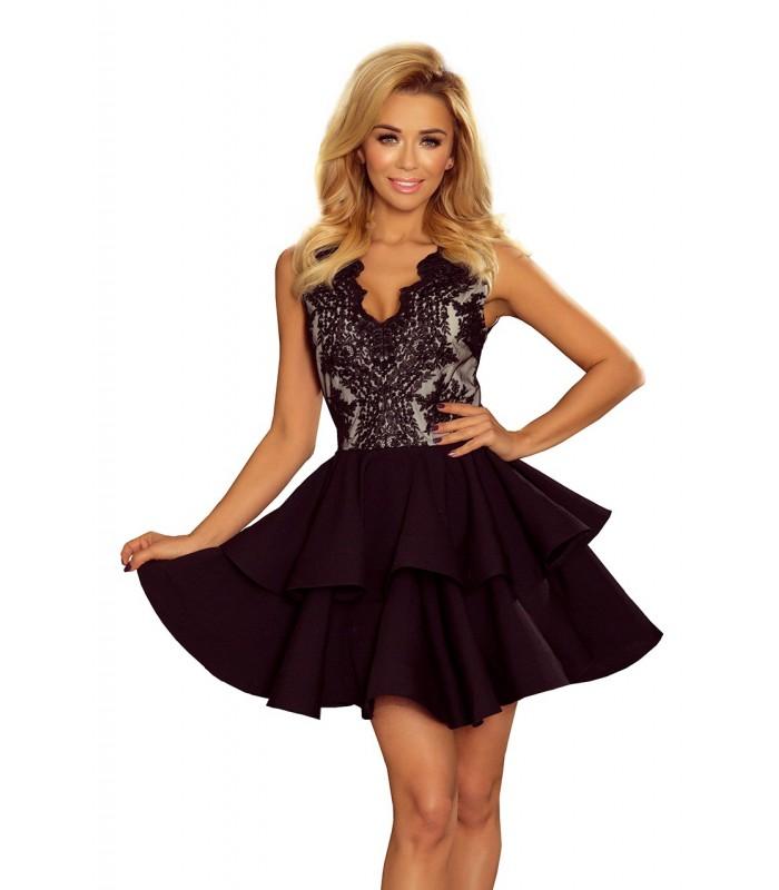 Čierne spoločenské mini šaty s krajkou a nadýchanou sukňou
