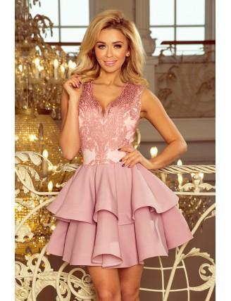 Pastelovo-ružové spoločenské mini šaty s krajkou-1