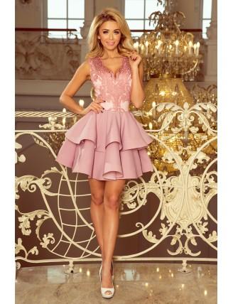 Pastelovo-ružové spoločenské mini šaty s krajkou-2