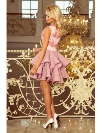 Pastelovo-ružové spoločenské mini šaty s krajkou-3