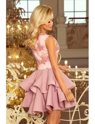 Pastelovo-ružové spoločenské mini šaty s krajkou-4