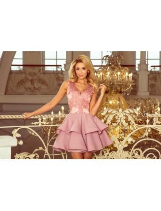 Pastelovo-ružové spoločenské mini šaty s krajkou-5