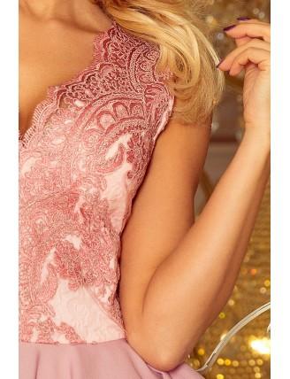 Pastelovo-ružové spoločenské mini šaty s krajkou-6