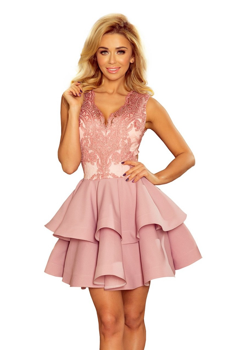 Pastelovo-ružové spoločenské mini šaty s krajkou