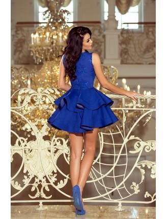 Modré spoločenské šaty s nadýchanou sukňou a čipkou-2