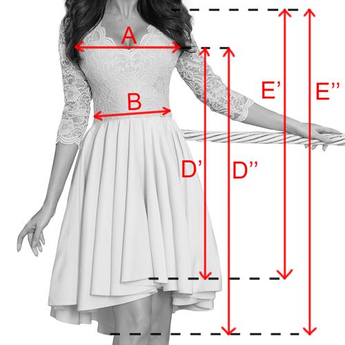 Bordové asymetrické šaty s trojštvrťovými rukávmi a krajkou