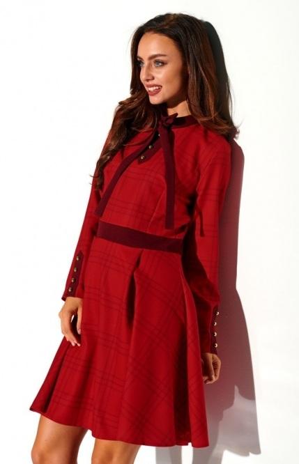 Červené kockované šaty s mašľou