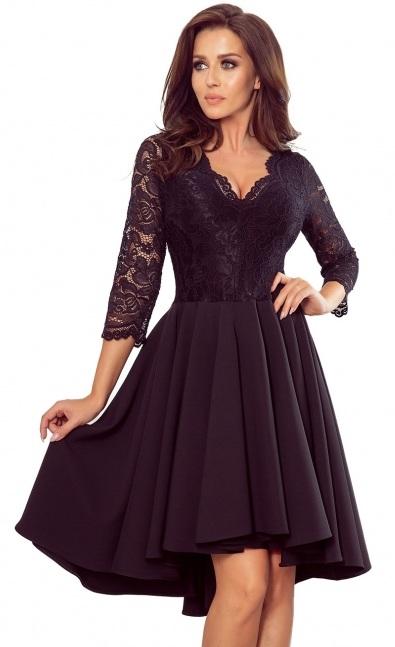 Čierne asymetrické šaty s čipkou