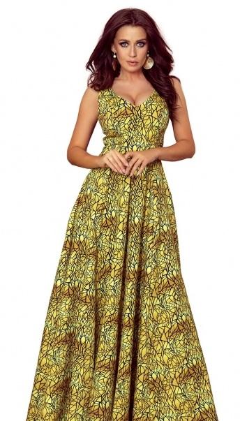 žlté spoločenské dlhé šaty so vzorom